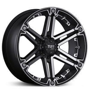 TUFF T01 Flat Black Chrome Inserts Wheels 8111727