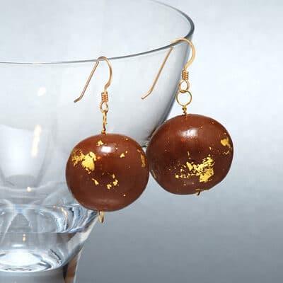 Gold Leaf Chocolate Earrings1 3219992